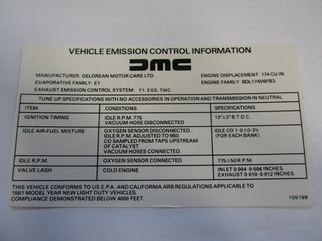 LABEL: EMISSION CONTROL MANUAL TRANS - 1981 ONLY